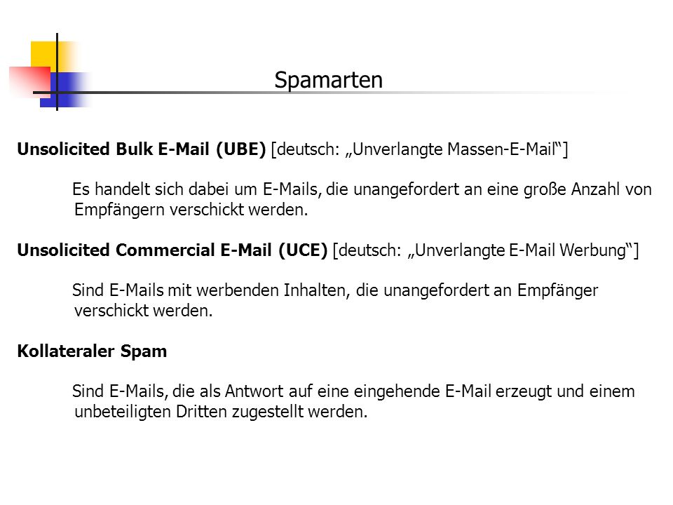 "Spamarten Unsolicited Bulk E-Mail (UBE) [deutsch: ""Unverlangte Massen-E-Mail ]"